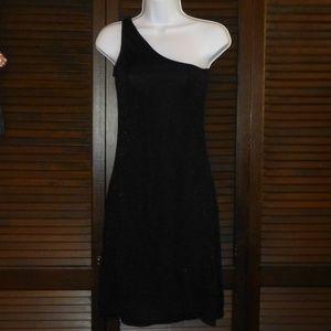Zara Black One Shoulder Dress, Stretchy Bodycon, M